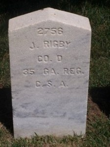 Headstone for Pvt. John Rigby, Co. D, 35th Georgia Infantry Regiment, Woodlawn National Cemetery at Elmira NY