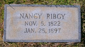 Nancy Rigby headstone - wife of John Rigby, 35th Georgia Infantry Regiment.