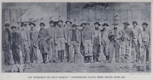 Confederate Prisoners at Point Lookout, Maryland with tall wooden fence in background.